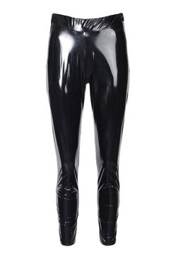 Black Super Stretch Vinyl Ruched Bum Leggings