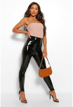Black Super Stretch Vinyl Highwaist Leggings
