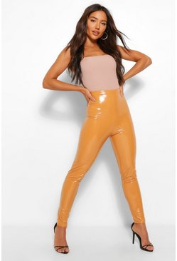 Caramel beige Super Stretch Vinyl Highwaist Leggings