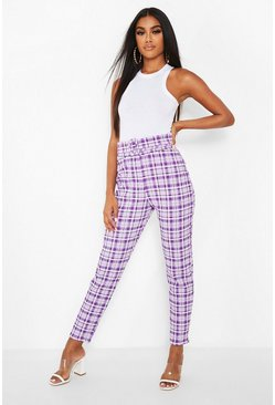 Lilac purple Checked Belted Skinny Trousers