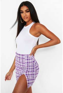 Lilac purple Checked Split Front Mini Skirt