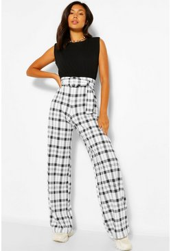 Ivory white Checked Belted Wide Leg Trousers