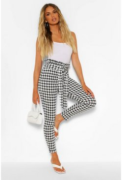 Black Large Dogtooth Paperbag Waist Slim Fit Trousers