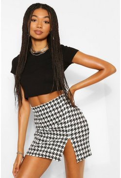 Black Large Dogtooth Side Split Mini Skirt