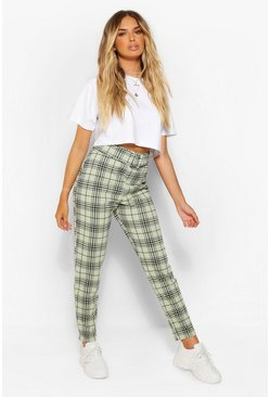 Sage green Checked Belted Cigarette Trousers