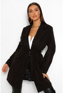 Black Belted Pocket Detail Wool Look Coat