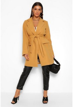 Camel beige Belted Pocket Detail Wool Look Coat
