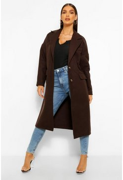 Chocolate brown Tailored Wool Look Boyfriend Coat