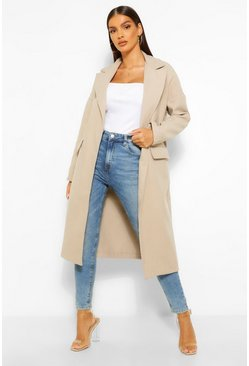 Stone beige Tailored Wool Look Boyfriend Coat