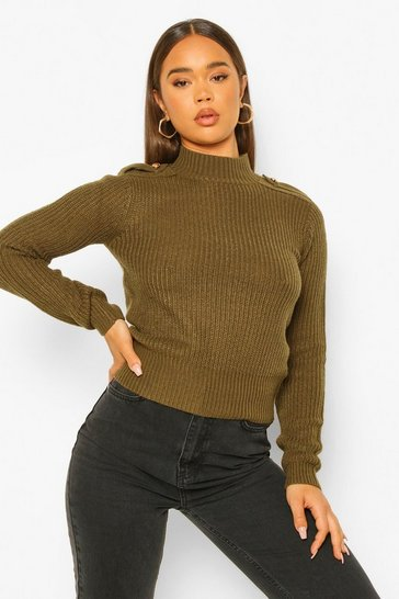 Khaki Utility Button Shoulder Detail Jumper