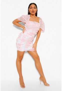 Pink Organza Bardot Rouched Mini Dress