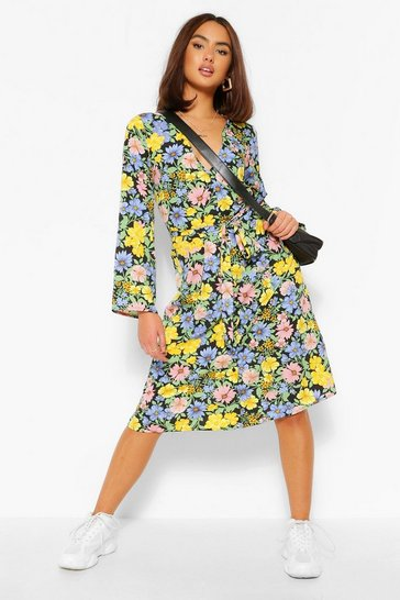 Black Floral Print Button Front Midi Dress