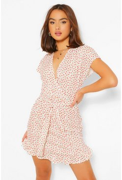 White Ditsy Floral Rib Wrap Front Tea Dress