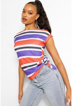 Navy Striped Rib Knot Side Top
