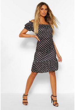 Black Polka Dot Rib Ruffle Hem Dress