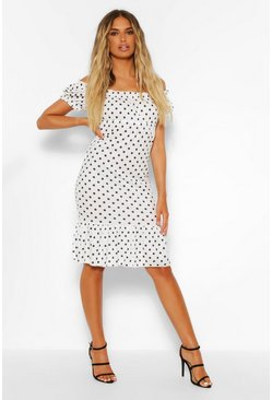 White Polka Dot Rib Ruffle Hem Dress