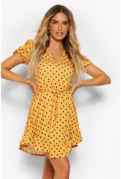 Mustard yellow Polka Dot Rib Tie Belt Tea Dress