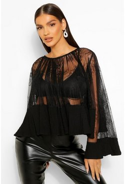 Black Lace Long Sleeve Swing Top