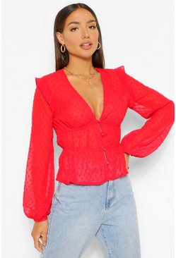 Red Woven Dobby Ruffle Blouse