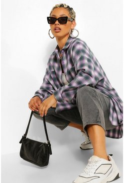 Green Extreme Oversized Check Shirt