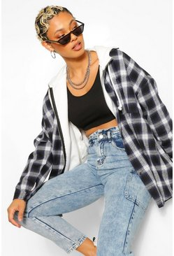 Extreme Oversized Check Shirt, Navy marine
