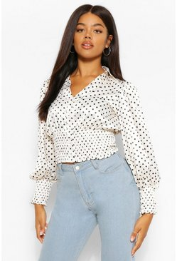 Ivory white Satin polka dot shirred detail shirt