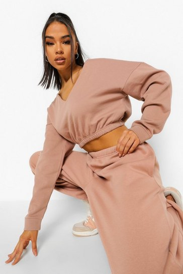 Camel beige Beige V Neck Crop Sweater