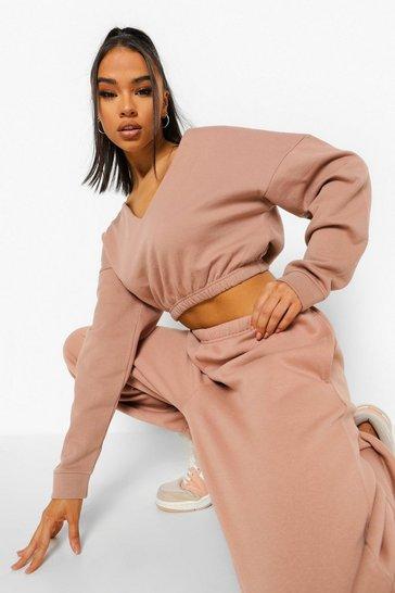 Camel beige Beige V Neck Crop Sweater