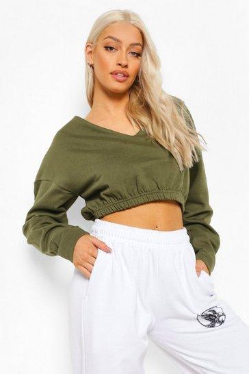 Khaki Green V Neck Crop Sweater