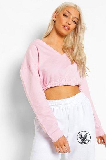 Pink V Neck Crop Sweater