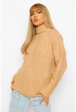 Camel All Over Cable Knit Turtle Neck Jumper