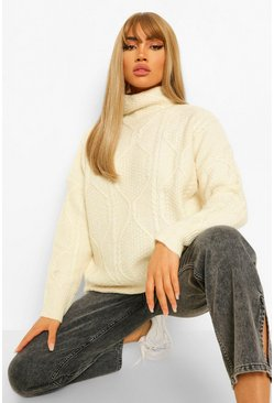 Ivory white All Over Cable Knit Turtle Neck Jumper