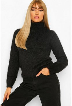 Black Fluffy Knit Roll Neck Jumper
