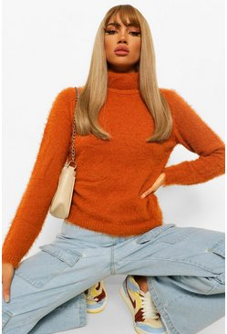 Cinnamon brown Fluffy Knit Turtleneck Sweater
