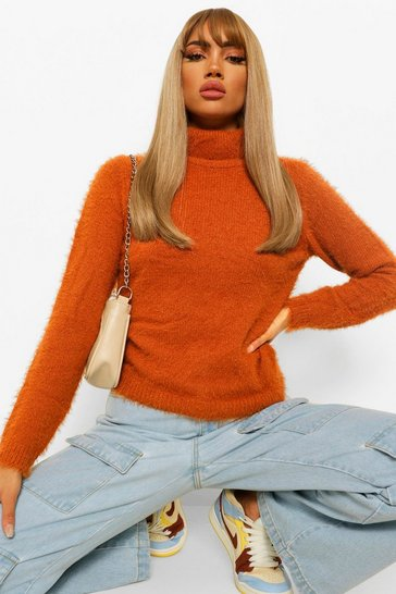 Cinnamon brown Fluffy Knit Roll Neck Jumper