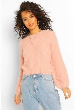 Rose pink pink Fluffy Knit Crew Neck Jumper
