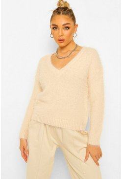 Nude Fluffy V Neck Jumper