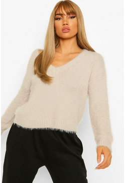 Pale grey grey Fluffy V Neck Jumper