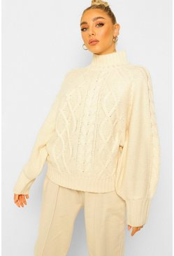 Cream white Cable Knit Balloon Sleeve Jumper