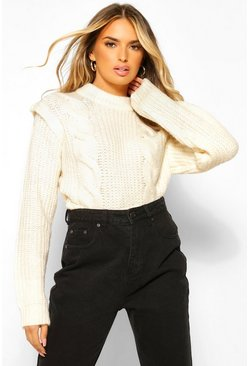 Cream white Cable Knit Shoulder Pad Jumper