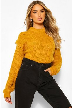 Saffron yellow Cable Knit Shoulder Pad Sweater