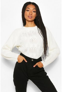 Cream white Cable Open Stitch Jumper