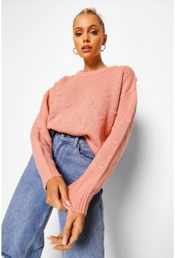 Blush pink Bobble Stitch Jumper