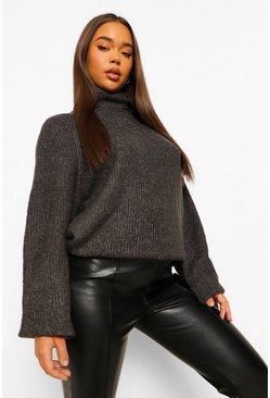 Charcoal grey Soft Knit Roll Neck Jumper