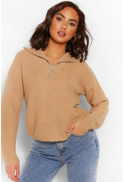 Camel beige Zip Up Polo Jumper