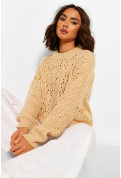 Biscuit beige Chunky Cable Pointelle Jumper