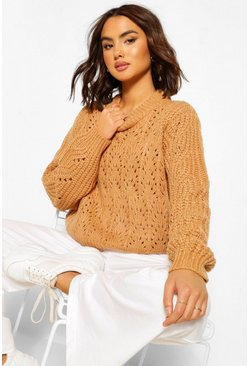 Camel Chunky Cable Pointelle Jumper