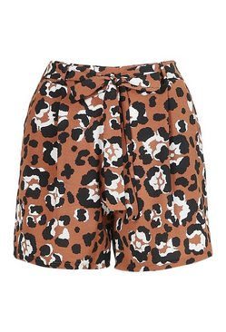 Brown Leopard Print Tie Belt Shorts