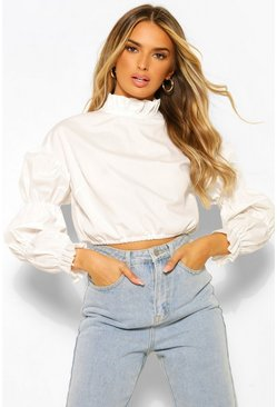 White Cotton Poplin High Neck Puff Sleeve Blouse