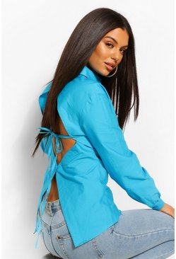 Azure blue Cotton Poplin Open Back Fitted Shirt